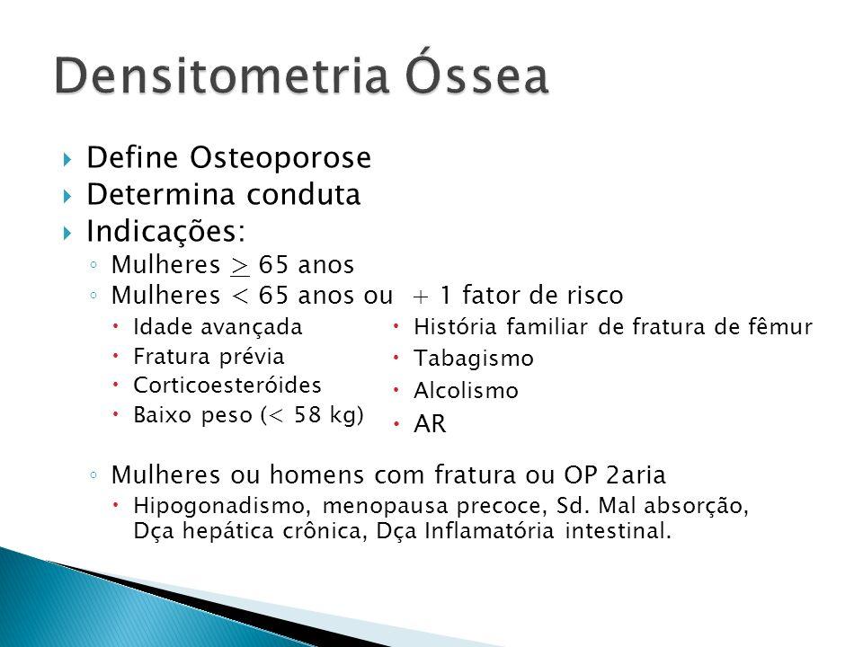 Define Osteoporose Determina conduta Indicações: Mulheres > 65 anos Mulheres < 65 anos ou + 1 fator de risco Idade avançada Fratura prévia Corticoeste