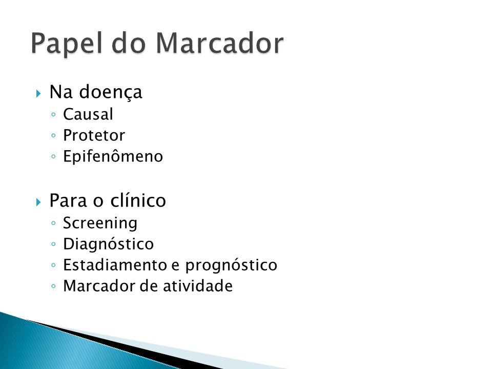 Na doença Causal Protetor Epifenômeno Para o clínico Screening Diagnóstico Estadiamento e prognóstico Marcador de atividade