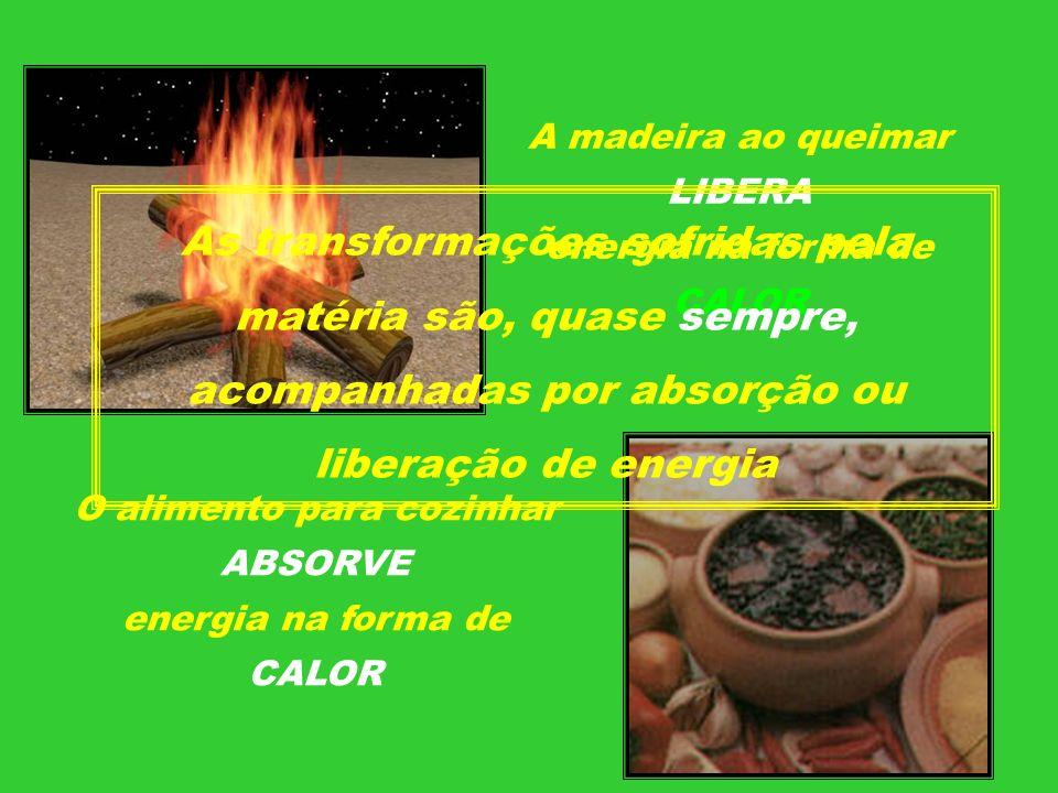 A madeira ao queimar LIBERA energia na forma de CALOR O alimento para cozinhar ABSORVE energia na forma de CALOR As transformações sofridas pela matér