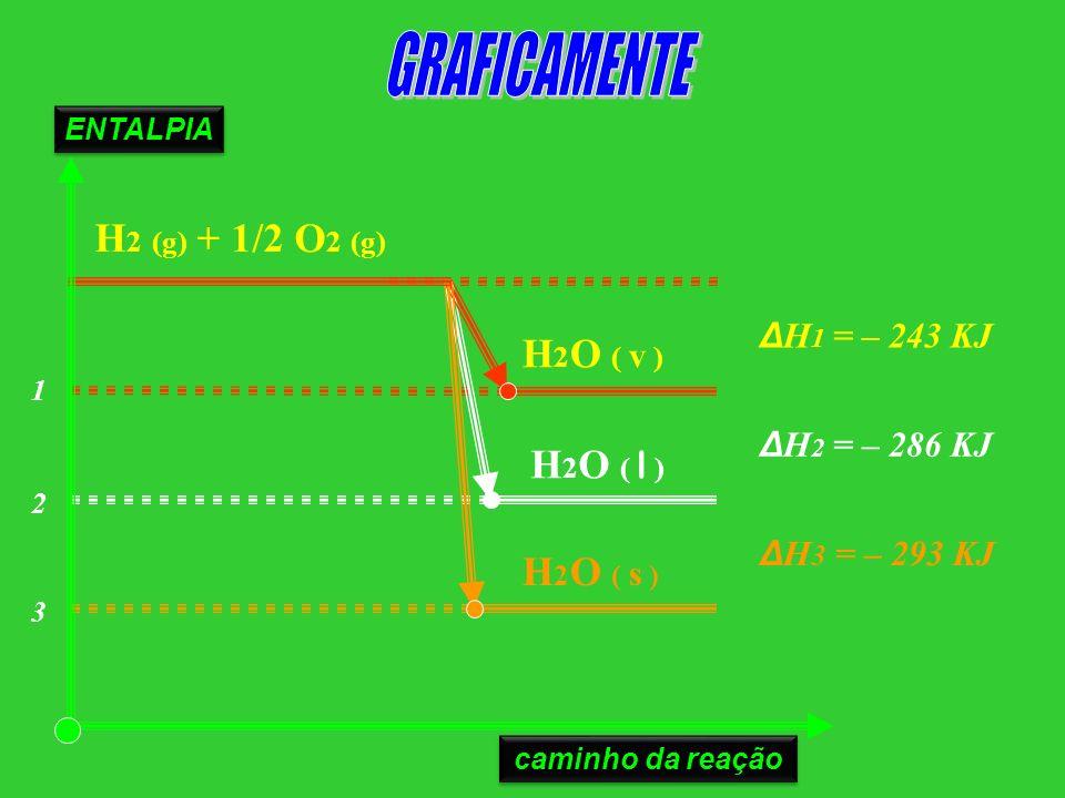 H 2 O ( s ) H 2 (g) + 1/2 O 2 (g) H 2 O ( l ) H 2 O ( v ) ΔH 3 = – 293 KJ ΔH 2 = – 286 KJ ΔH 1 = – 243 KJ 1 2 3 ENTALPIA caminho da reação