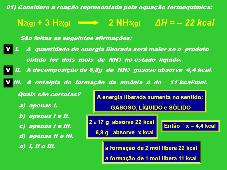 01) Considere a reação representada pela equação termoquímica: N 2(g) + 3 H 2(g) 2 NH 3(g) ΔH = – 22 kcal São feitas as seguintes afirmações: I.A quan