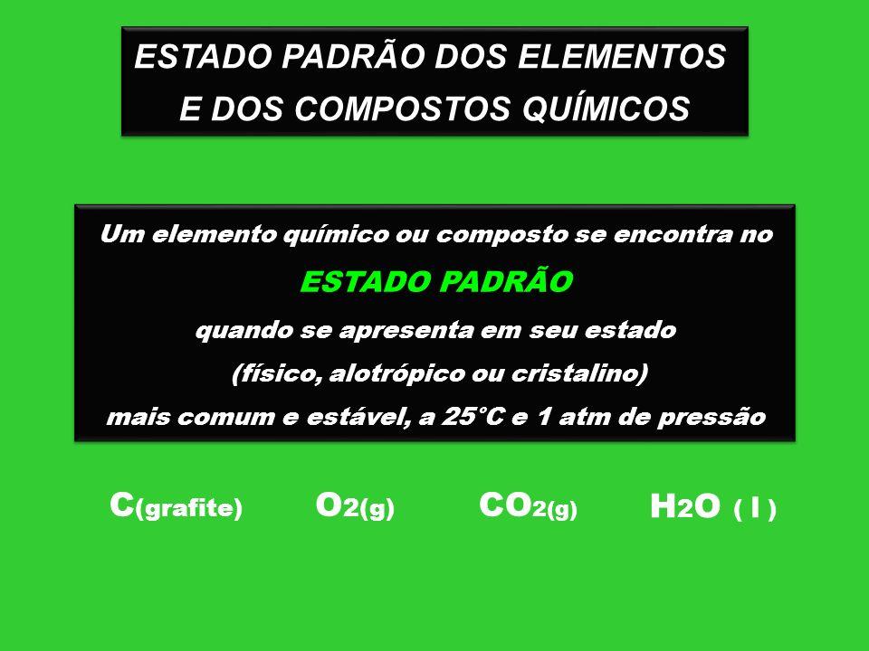 ESTADO PADRÃO DOS ELEMENTOS E DOS COMPOSTOS QUÍMICOS ESTADO PADRÃO DOS ELEMENTOS E DOS COMPOSTOS QUÍMICOS Um elemento químico ou composto se encontra