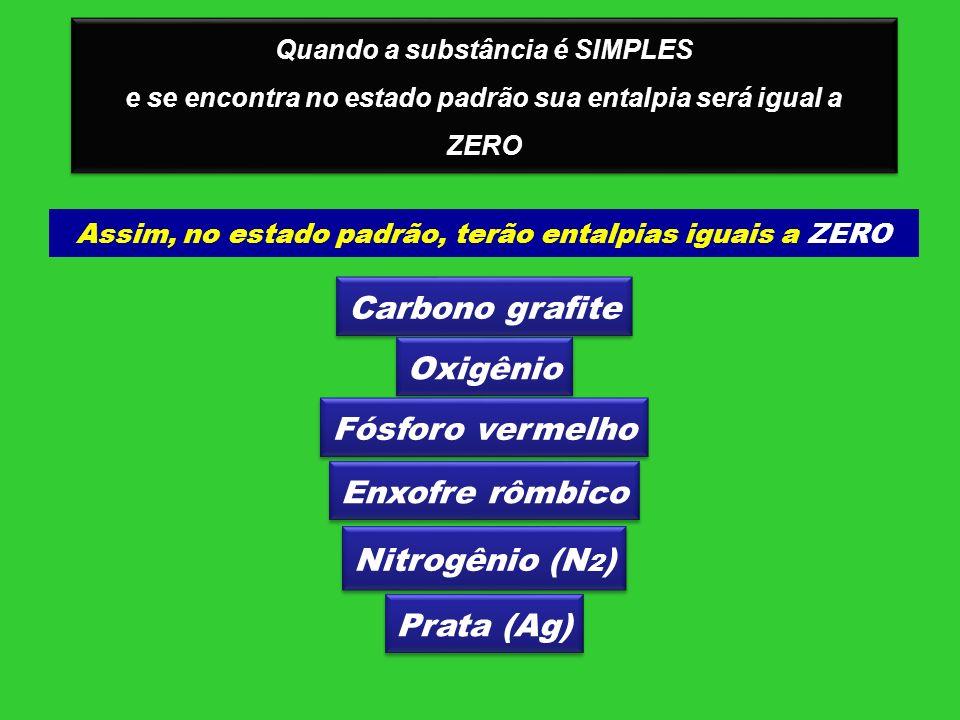 Quando a substância é SIMPLES e se encontra no estado padrão sua entalpia será igual a ZERO Quando a substância é SIMPLES e se encontra no estado padr