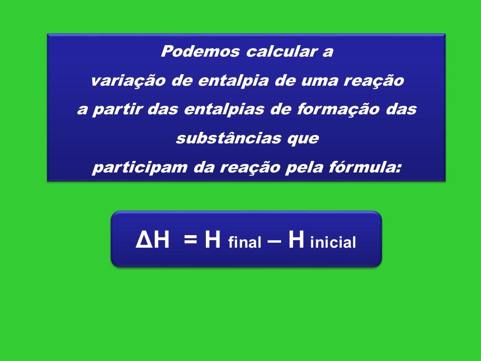 Podemos calcular a variação de entalpia de uma reação a partir das entalpias de formação das substâncias que participam da reação pela fórmula: Podemo