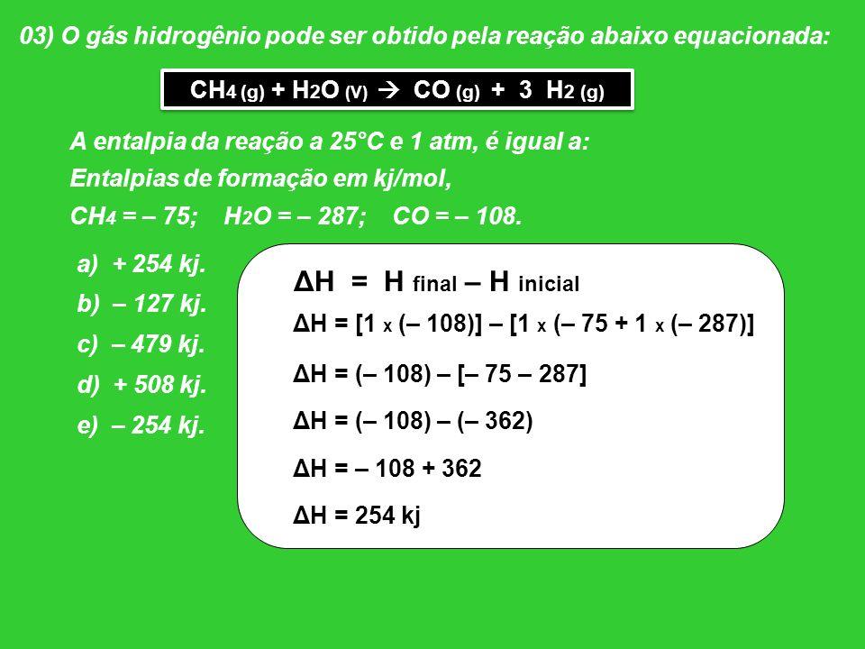 03) O gás hidrogênio pode ser obtido pela reação abaixo equacionada: A entalpia da reação a 25°C e 1 atm, é igual a: Entalpias de formação em kj/mol,