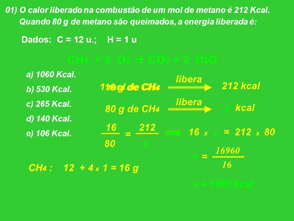 01) O calor liberado na combustão de um mol de metano é 212 Kcal. Quando 80 g de metano são queimados, a energia liberada é: Dados: C = 12 u.; H = 1 u
