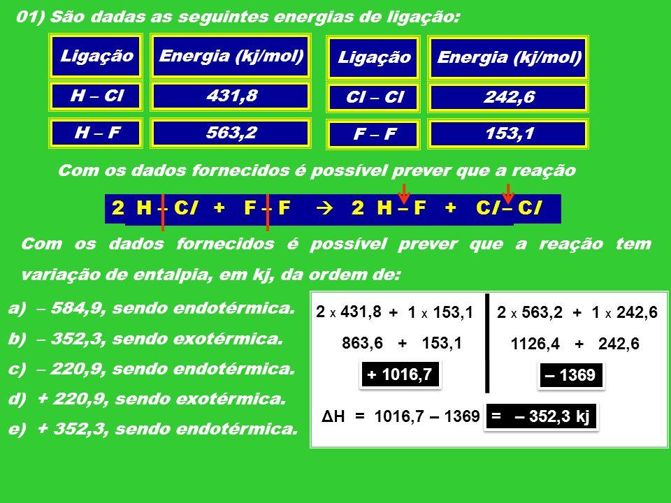 01) São dadas as seguintes energias de ligação: LigaçãoEnergia (kj/mol) H – Cl H – F Cl – Cl F – F 431,8 563,2 242,6 153,1 Com os dados fornecidos é p