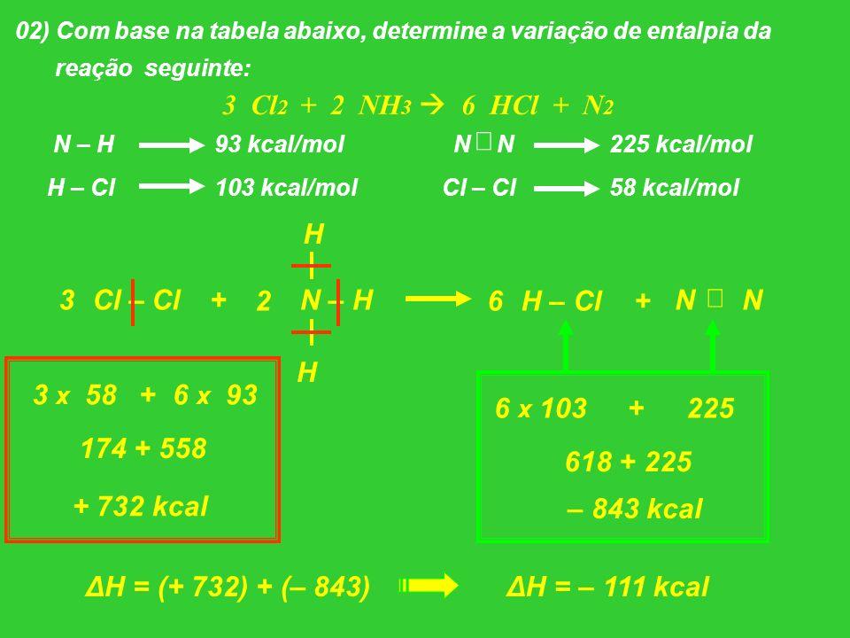 02) Com base na tabela abaixo, determine a variação de entalpia da reação seguinte: 3 Cl 2 + 2 NH 3 6 HCl + N 2 N – H93 kcal/mol H – Cl103 kcal/mol N