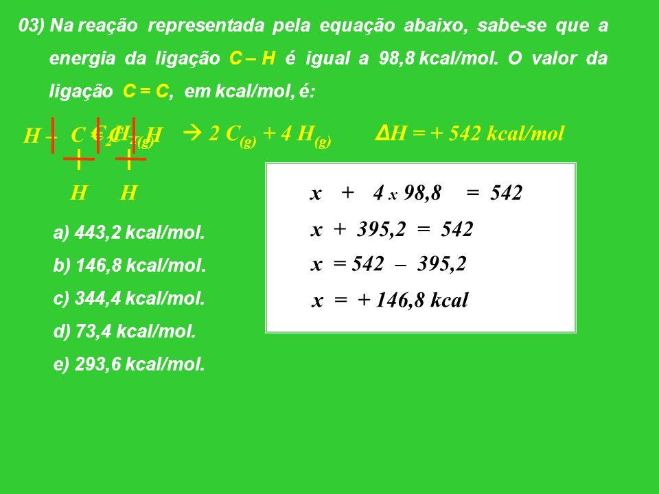 03) Na reação representada pela equação abaixo, sabe-se que a energia da ligação C – H é igual a 98,8 kcal/mol. O valor da ligação C = C, em kcal/mol,