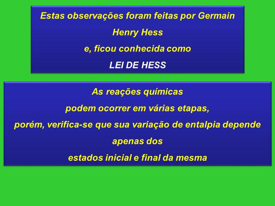 Estas observações foram feitas por Germain Henry Hess e, ficou conhecida como LEI DE HESS Estas observações foram feitas por Germain Henry Hess e, fic