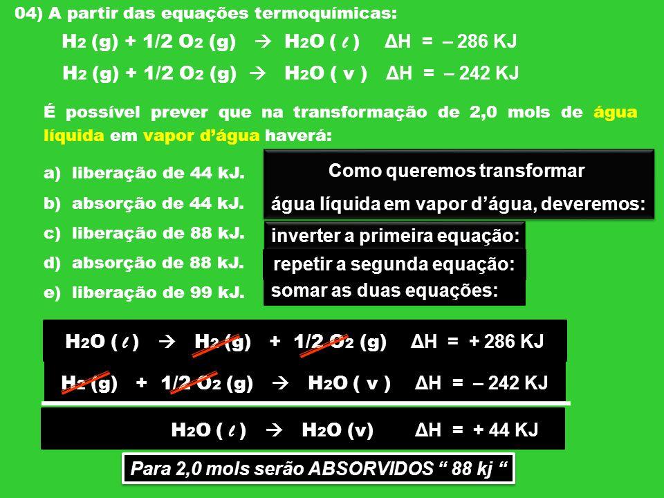 04) A partir das equações termoquímicas: H 2 (g) + 1/2 O 2 (g) H 2 O ( l ) ΔH = – 286 KJ H 2 (g) + 1/2 O 2 (g) H 2 O ( v ) ΔH = – 242 KJ É possível pr