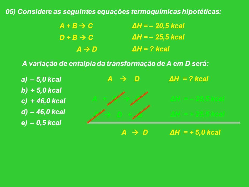 05) Considere as seguintes equações termoquímicas hipotéticas: A + B C D + B C A D ΔH = – 20,5 kcal ΔH = – 25,5 kcal ΔH = ? kcal A variação de entalpi