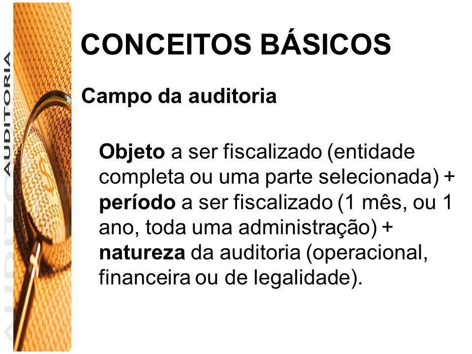 CONCEITOS BÁSICOS Campo da auditoria Objeto a ser fiscalizado (entidade completa ou uma parte selecionada) + período a ser fiscalizado (1 mês, ou 1 an