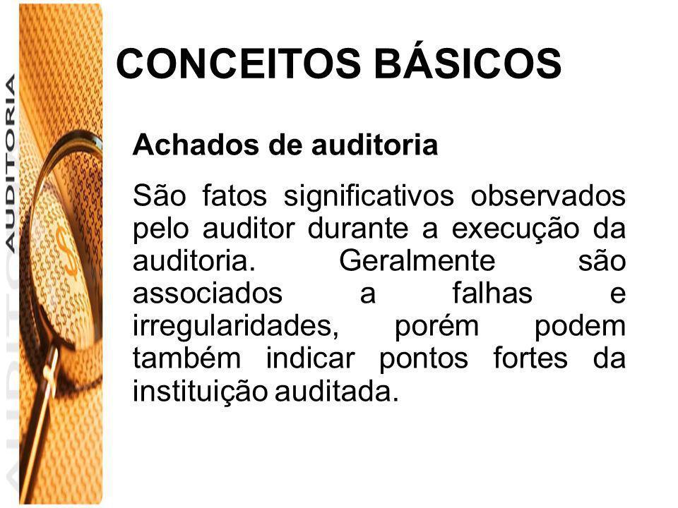 CONCEITOS BÁSICOS Achados de auditoria São fatos significativos observados pelo auditor durante a execução da auditoria. Geralmente são associados a f
