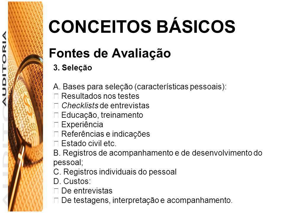 CONCEITOS BÁSICOS Fontes de Avaliação 3. Seleção A. Bases para seleção (características pessoais): Resultados nos testes Checklists de entrevistas Edu