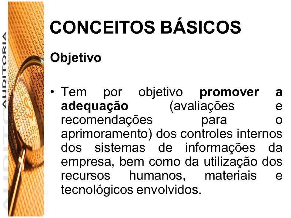 CONCEITOS BÁSICOS Objetivo Tem por objetivo promover a adequação (avaliações e recomendações para o aprimoramento) dos controles internos dos sistemas