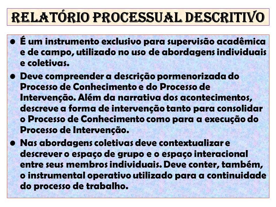 RELATÓRIO PROCESSUAL DESCRITIVO É um instrumento exclusivo para supervisão acadêmica e de campo, utilizado no uso de abordagens individuais e coletiva
