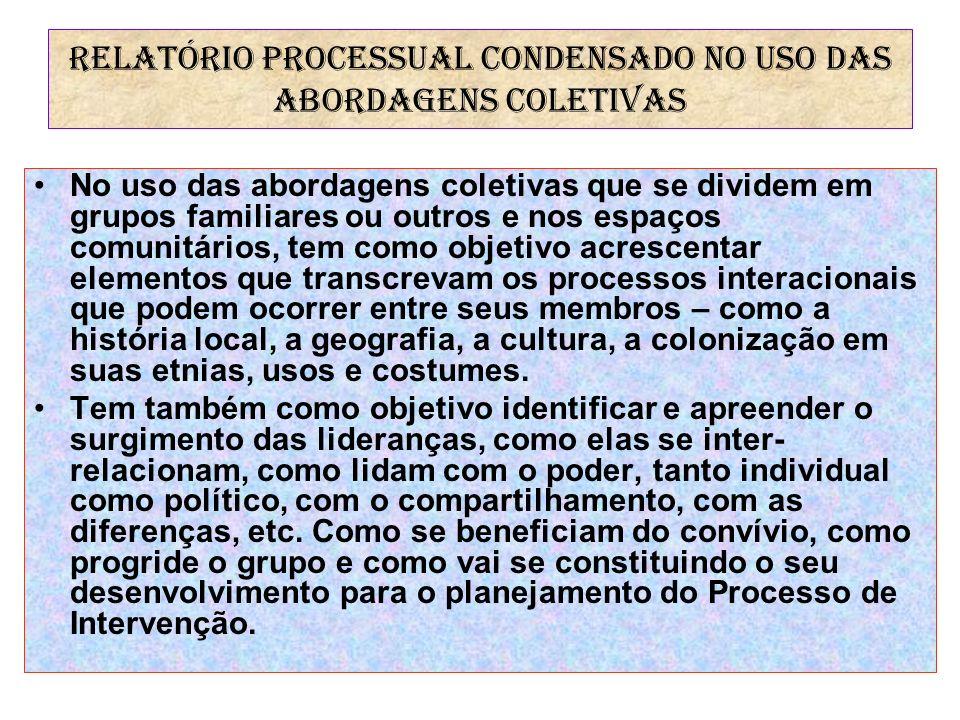 RELATÓRIO PROCESSUAL CONDENSADO NO USO DAS ABORDAGENS COLETIVAS No uso das abordagens coletivas que se dividem em grupos familiares ou outros e nos es