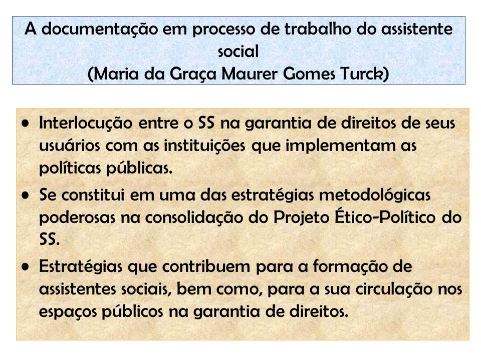 A documentação em processo de trabalho do assistente social (Maria da Graça Maurer Gomes Turck) Interlocução entre o SS na garantia de direitos de seu