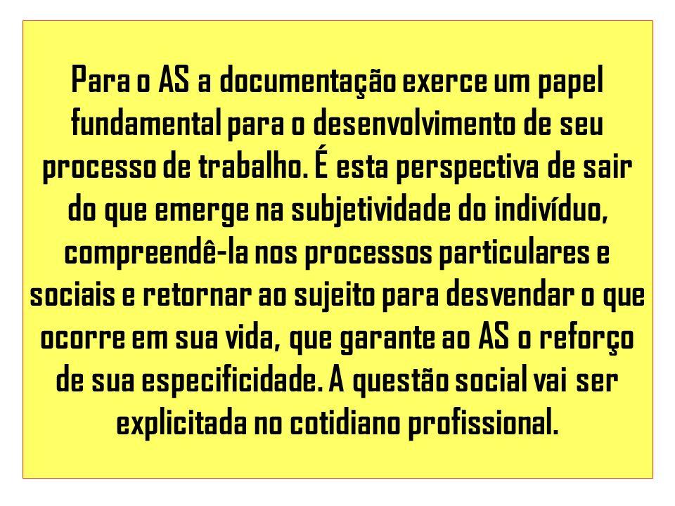 Para o AS a documentação exerce um papel fundamental para o desenvolvimento de seu processo de trabalho. É esta perspectiva de sair do que emerge na s