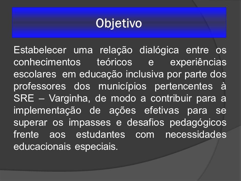 Objetivo Estabelecer uma relação dialógica entre os conhecimentos teóricos e experiências escolares em educação inclusiva por parte dos professores do