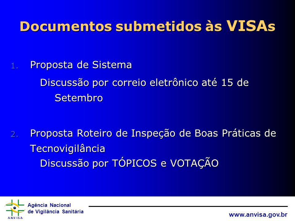 Agência Nacional de Vigilância Sanitária www.anvisa.gov.br Documentos consensuados na Oficina para submeter às VISAs e à SAS/MS 1. Proposta de Sistema