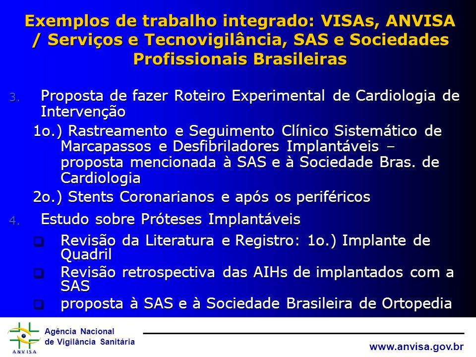 Agência Nacional de Vigilância Sanitária www.anvisa.gov.br Exemplos de trabalho integrado: VISAs, ANVISA/ Serviços e Tecnovigilância, SAS e REFORSUS 1