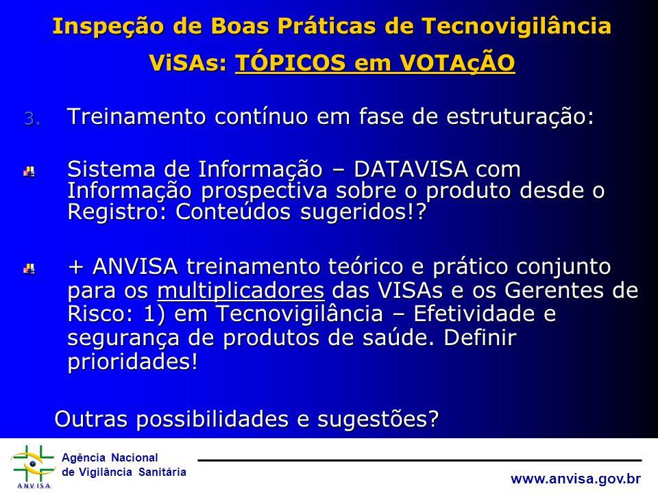 Agência Nacional de Vigilância Sanitária www.anvisa.gov.br Inspeção de Boas Práticas de Tecnovigilância ViSAs: TÓPICOS em VOTAçÃO 3. Treinamentos even