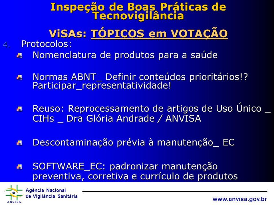 Agência Nacional de Vigilância Sanitária www.anvisa.gov.br Inspeção de Boas Práticas de Tecnovigilância ViSAs: TÓPICOS em VOTAçÃO 3. Treinamento contí