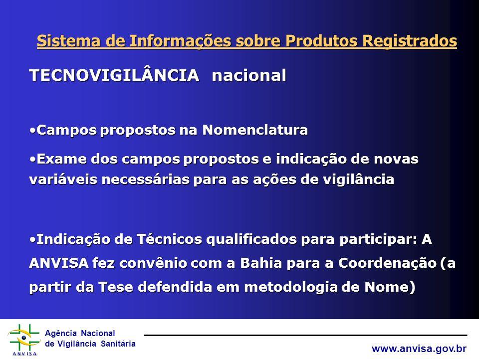 Agência Nacional de Vigilância Sanitária www.anvisa.gov.br TECNOVIGILÂNCIA nacional e internacional Literatura e WWW=> EVENTOS ADVERSOSLiteratura e WW