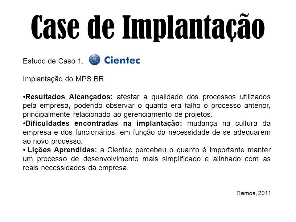 Estudo de Caso 1. Implantação do MPS.BR Resultados Alcançados: atestar a qualidade dos processos utilizados pela empresa, podendo observar o quanto er