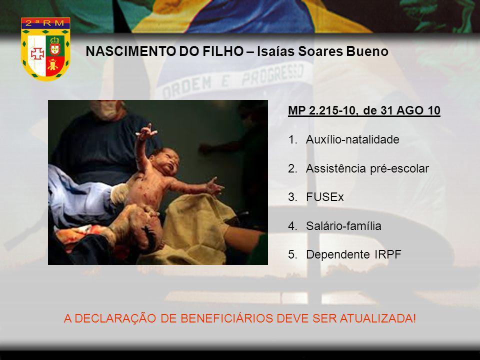 NASCIMENTO DO FILHO – Isaías Soares Bueno MP 2.215-10, de 31 AGO 10 1.Auxílio-natalidade 2.Assistência pré-escolar 3.FUSEx 4.Salário-família 5.Depende