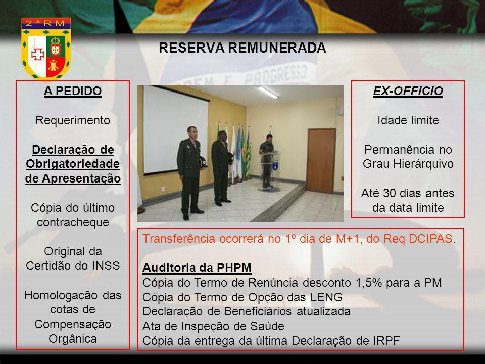 RESERVA REMUNERADA A PEDIDO Requerimento Declaração de Obrigatoriedade de Apresentação Cópia do último contracheque Original da Certidão do INSS Homol