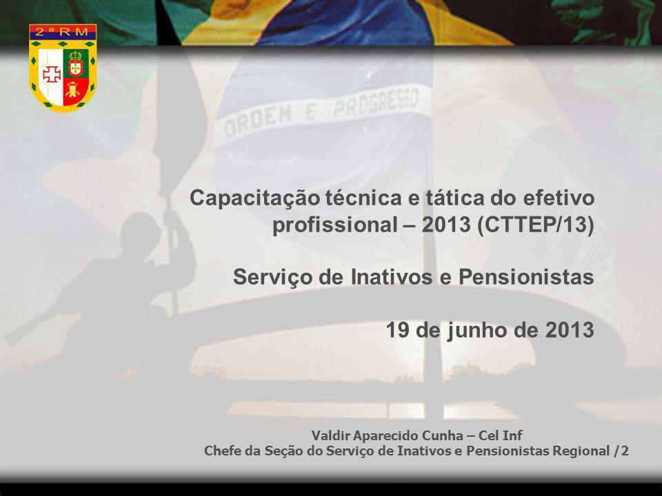 Capacitação técnica e tática do efetivo profissional – 2013 (CTTEP/13) Serviço de Inativos e Pensionistas 19 de junho de 2013 Valdir Aparecido Cunha –