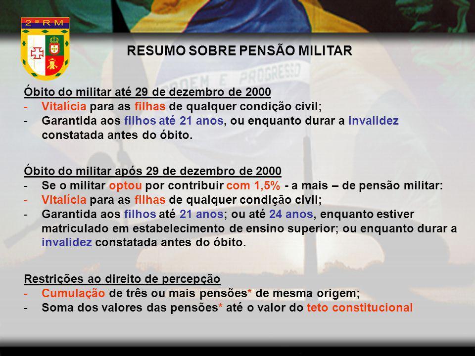 RESUMO SOBRE PENSÃO MILITAR Óbito do militar até 29 de dezembro de 2000 -Vitalícia para as filhas de qualquer condição civil; -Garantida aos filhos at