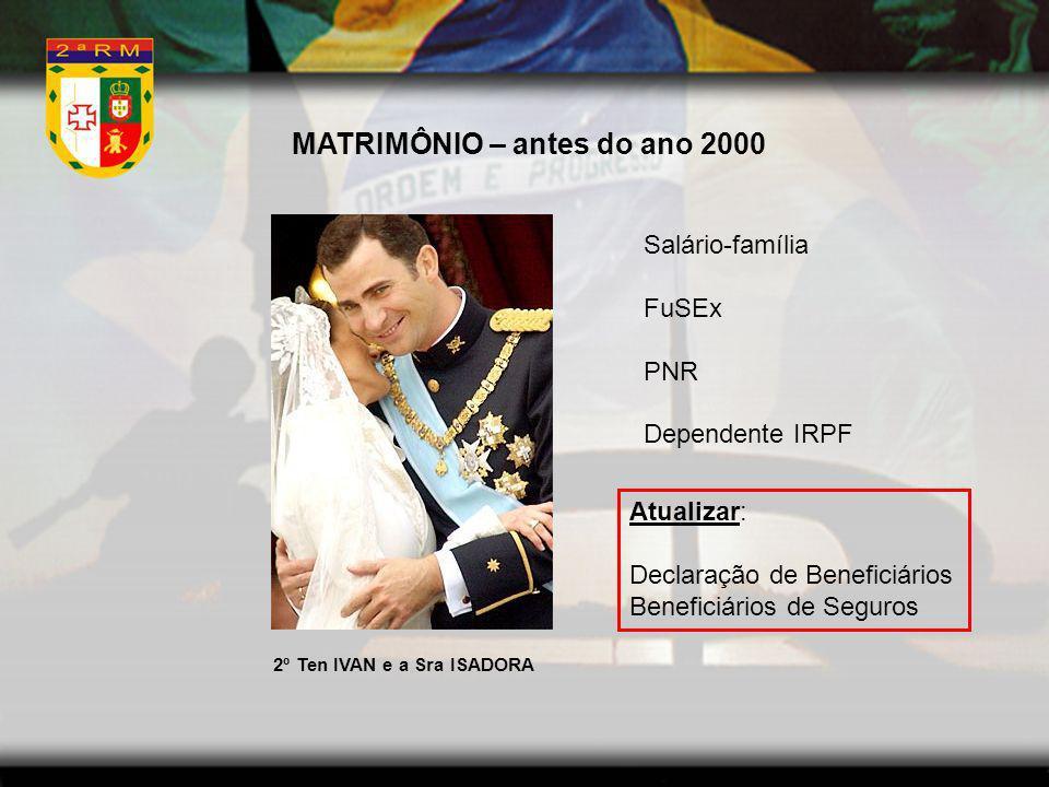MATRIMÔNIO – antes do ano 2000 Salário-família FuSEx PNR Dependente IRPF 2º Ten IVAN e a Sra ISADORA Atualizar: Declaração de Beneficiários Beneficiár