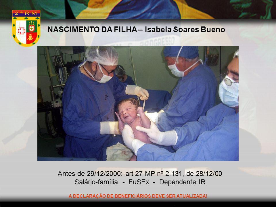 NASCIMENTO DA FILHA – Isabela Soares Bueno Antes de 29/12/2000: art 27 MP nº 2.131, de 28/12/00 Salário-família - FuSEx - Dependente IR A DECLARAÇÃO D