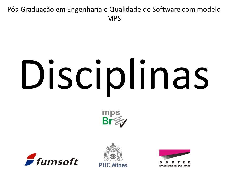 Disciplinas Pós-Graduação em Engenharia e Qualidade de Software com modelo MPS