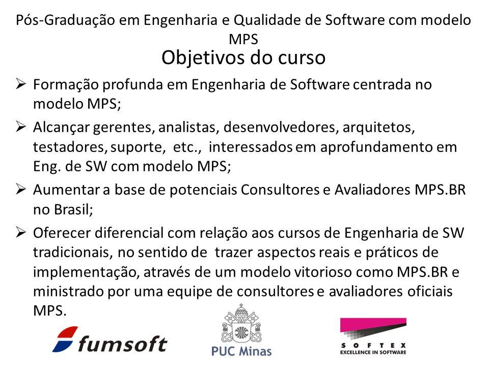 Formação profunda em Engenharia de Software centrada no modelo MPS; Alcançar gerentes, analistas, desenvolvedores, arquitetos, testadores, suporte, etc., interessados em aprofundamento em Eng.