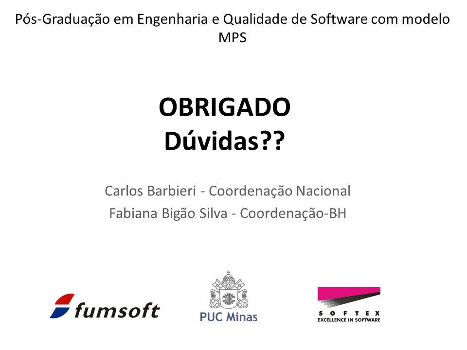 Carlos Barbieri - Coordenação Nacional Fabiana Bigão Silva - Coordenação-BH OBRIGADO Dúvidas?? Pós-Graduação em Engenharia e Qualidade de Software com