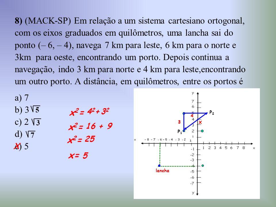 8) (MACK-SP) Em relação a um sistema cartesiano ortogonal, com os eixos graduados em quilômetros, uma lancha sai do ponto (– 6, – 4), navega 7 km para