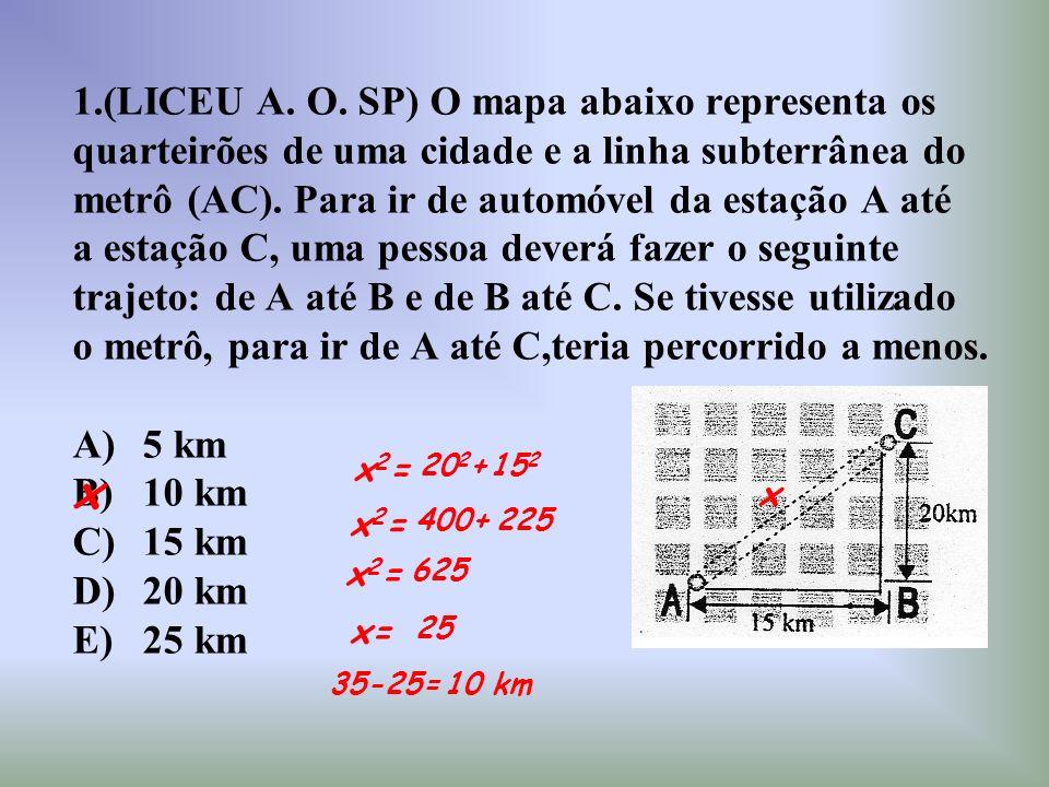 1.(LICEU A. O. SP) O mapa abaixo representa os quarteirões de uma cidade e a linha subterrânea do metrô (AC). Para ir de automóvel da estação A até a