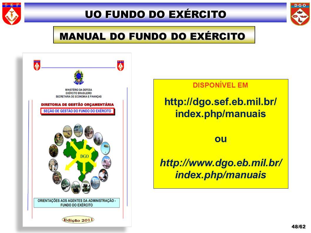 UO FUNDO DO EXÉRCITO MANUAL DO FUNDO DO EXÉRCITO 48/62 DISPONÍVEL EM http://dgo.sef.eb.mil.br/ index.php/manuais ou http://www.dgo.eb.mil.br/ index.ph