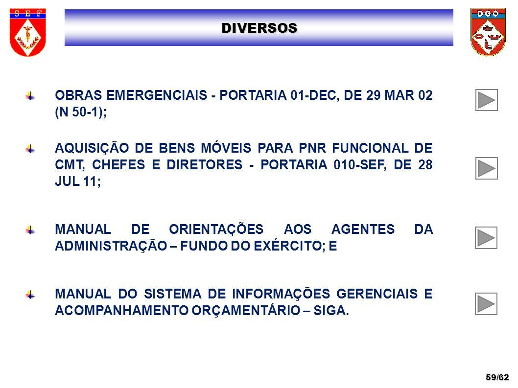 OBRAS EMERGENCIAIS - PORTARIA 01-DEC, DE 29 MAR 02 (N 50-1); AQUISIÇÃO DE BENS MÓVEIS PARA PNR FUNCIONAL DE CMT, CHEFES E DIRETORES - PORTARIA 010-SEF