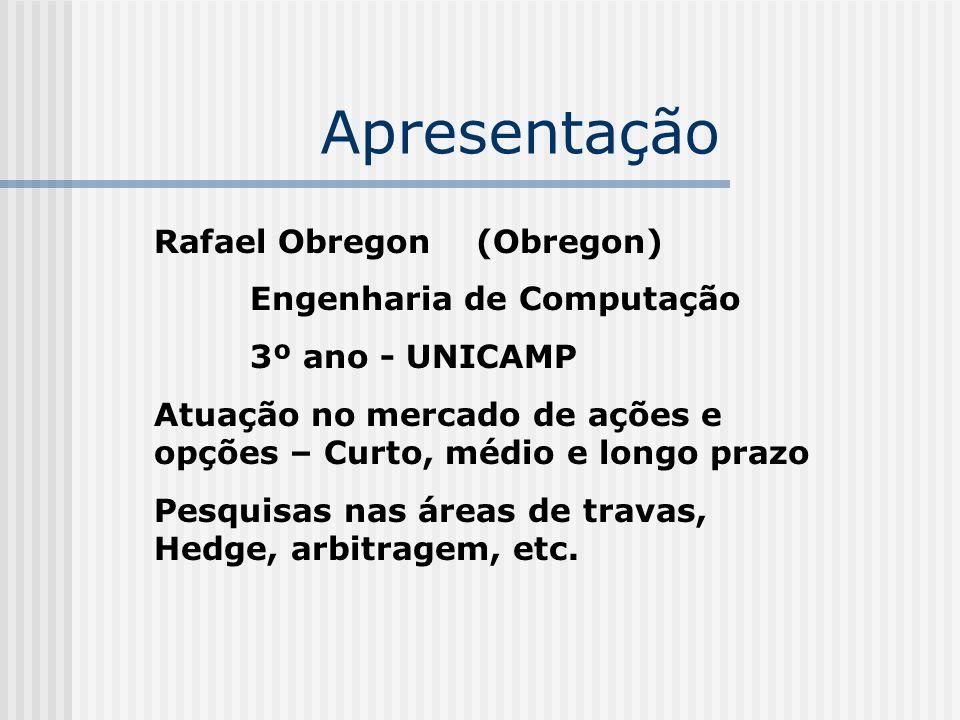 Apresentação Rafael Obregon (Obregon) Engenharia de Computação 3º ano - UNICAMP Atuação no mercado de ações e opções – Curto, médio e longo prazo Pesq