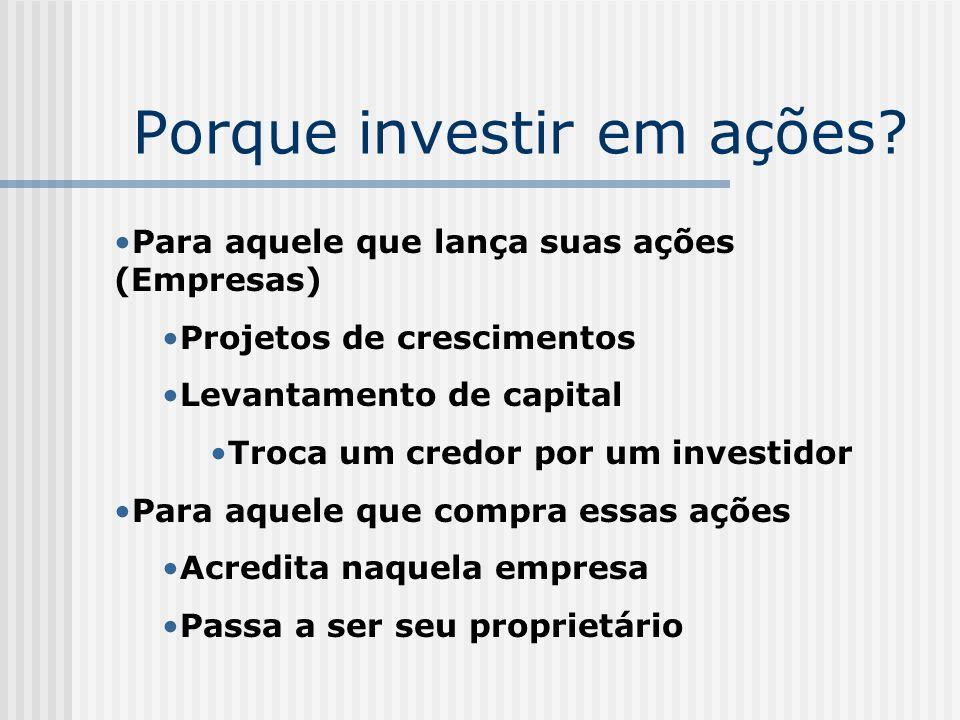 Porque investir em ações? Para aquele que lança suas ações (Empresas) Projetos de crescimentos Levantamento de capital Troca um credor por um investid