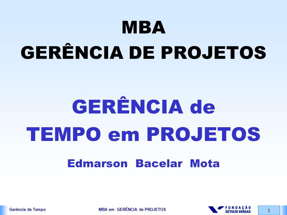 Gerência de Tempo MBA em GERÊNCIA de PROJETOS 1 MBA GERÊNCIA DE PROJETOS GERÊNCIA de TEMPO em PROJETOS Edmarson Bacelar Mota