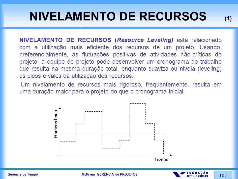 Gerência de Tempo MBA em GERÊNCIA de PROJETOS 108 NIVELAMENTO DE RECURSOS (1) NIVELAMENTO DE RECURSOS (Resource Leveling) está relacionado com a utili
