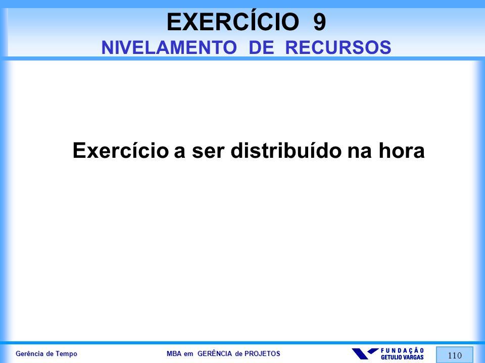 Gerência de Tempo MBA em GERÊNCIA de PROJETOS 110 EXERCÍCIO 9 NIVELAMENTO DE RECURSOS Exercício a ser distribuído na hora