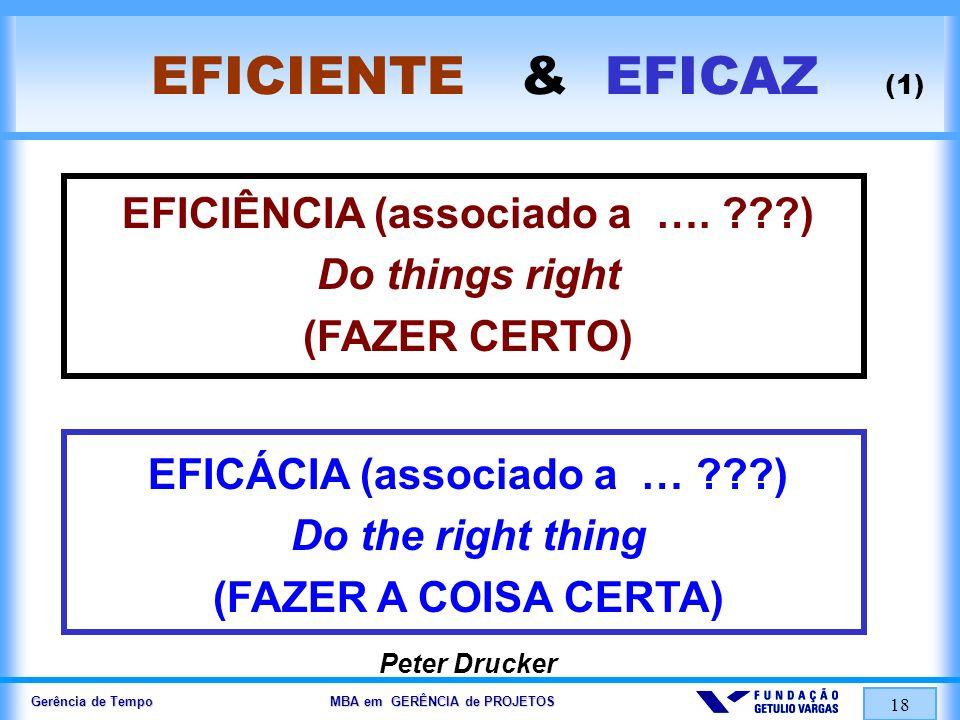 Gerência de Tempo MBA em GERÊNCIA de PROJETOS 18 EFICIENTE & EFICAZ (1) EFICIÊNCIA (associado a …. ???) Do things right (FAZER CERTO) EFICÁCIA (associ